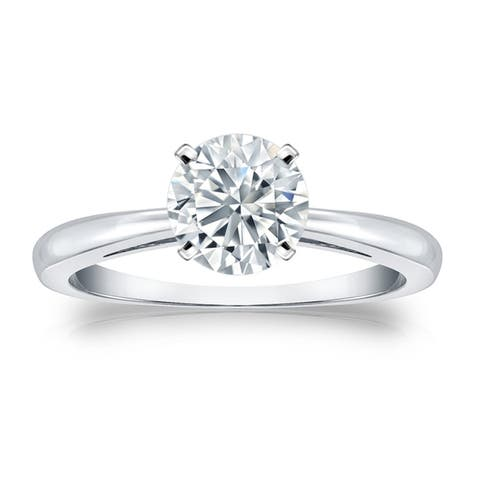 Auriya 18k Gold 1 1/2ctw Round Solitaire Diamond Engagement Ring Certified