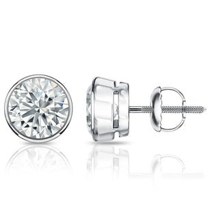 Auriya EGL USA Certified 14k White Gold Bezel Setting 2.50 ct. TDW (I-J, SI1-SI2) Screw Back Round Diamond Stud Earrings
