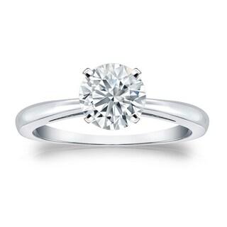 Auriya GIA Certified 14k White Gold 4-Prong 2.25 ct. TDW (K-L, VS1-VS2) Round-Cut Diamond Solitaire Engagement Ring