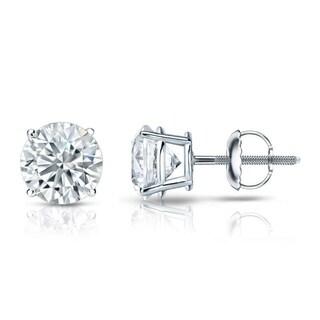 Auriya 18k Gold Certified 3.20 carat TW Round Diamond Stud Earrings