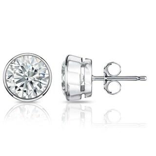 Auriya GIA Certified 14k White Gold Bezel Setting 1.00 ct. TDW (E-F, VVS1-VVS2) Push Back Round Diamond Stud Earrings