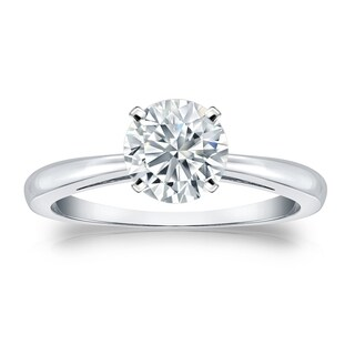Auriya GIA Certified 18k White Gold 4-Prong 1.50 ct. TDW (K-L, VS1-VS2) Round-Cut Diamond Solitaire Engagement Ring