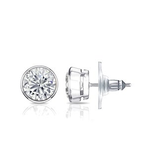 14k Gold Round 3 1/4ct TW Certified Locking Bezel Set Diamond Stud Earrings by Auriya
