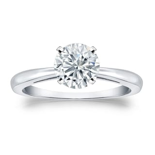 Auriya GIA Certified 18k White Gold 4-Prong 3 ct. TDW Round-Cut Diamond Solitaire Eng