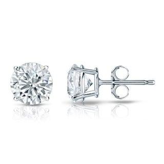 Auriya EGL USA Certified 14k White Gold 4-Prong Basket 3.00 ct. TDW (G-H, I1-I2) Push Back Round Diamond Stud Earrings