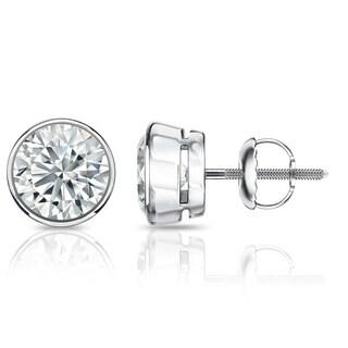 Auriya EGL USA Certified 14k White Gold Bezel Setting 2.00 ct. TDW (K-L, VS1-VS2) Screw Back Round Diamond Stud Earrings