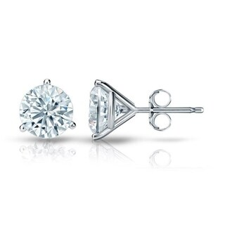 Round 3 1/4ct Certified Martini Diamond Stud Earrings in 18kt Gold by Auriya