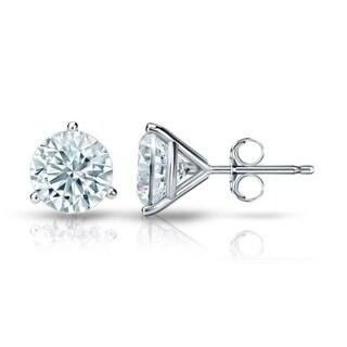 Auriya 18k Gold Certified 3.20 carat TDW 3-Prong Martini Round Diamond Stud Earrings