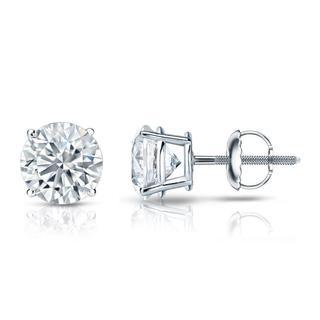 Auriya GIA Certified 18k White Gold 4-Prong Basket 3.00 ct. TDW (I-J, VS1-VS2) Screw Back Round Diamond Stud Earrings