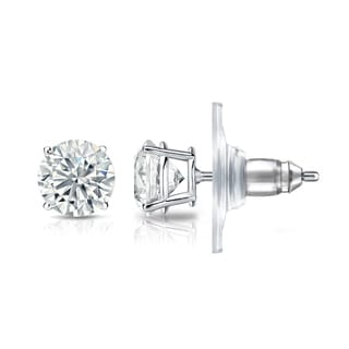 Auriya GIA Certified 14k White Gold 4-Prong Basket 4.50 ct. TDW (G-H, VVS1-VVS2) Secure Lock Back Round Diamond Stud Earrings