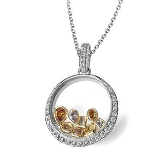 Lihara and Co. 18k White & Yellow Gold 1.09ct TDW White and Fancy Color Diamond Pendant - White H-I