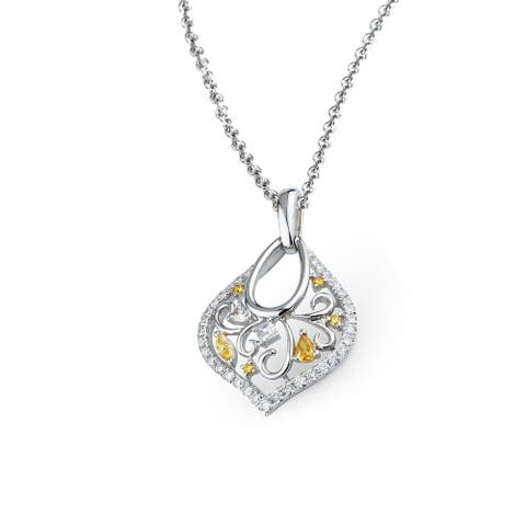 Lihara and Co. 18k White Gold 2/3ct TDW White and Fancy Color Diamond Pendant