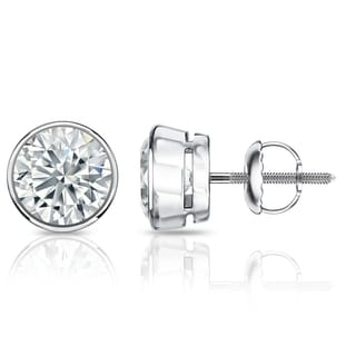 Auriya GIA Certified 14k White Gold Bezel Setting 3.00 ct. TDW (G-H, SI1-SI2) Screw Back Round Diamond Stud Earrings