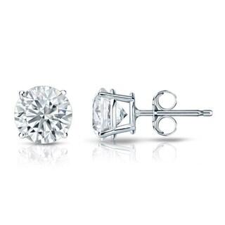 18k Gold Round 2ct TDW GIA Certified Diamond Stud Earrings by Auriya