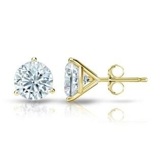 Auriya GIA Certified 18k White Gold 3-Prong Martini 1.50 ct. TDW (K-L, VVS1-VVS2) Push Back Round Diamond Stud Earrings