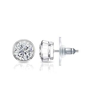Auriya GIA Certified 14k White Gold Bezel Setting 1.20 ct. TDW (I-J, VVS1-VVS2) Secure Lock Back Round Diamond Stud Earrings