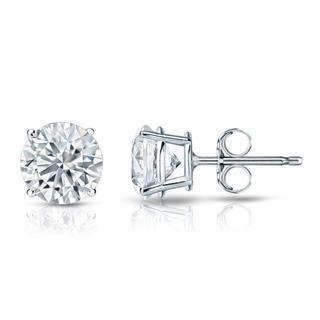 Auriya GIA Certified 18k White Gold 4-Prong Basket 3.00 ct. TDW (K-L, VS1-VS2) Push Back Round Diamond Stud Earrings
