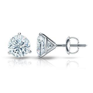 Auriya GIA Certified Platinum 3-Prong Martini 1.50 ct. TDW (E-F, VVS1-VVS2) Screw Back Round Diamond Stud Earrings