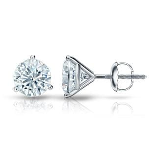 Auriya GIA Certified Platinum 3-Prong Martini 2.00 ct. TDW (E-F, VVS1-VVS2) Screw Back Round Diamond Stud Earrings