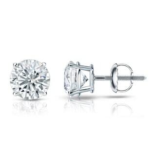 14kt Gold Round 1 1/2ct TDW GIA Certified Diamond Stud Earrings by Auriya