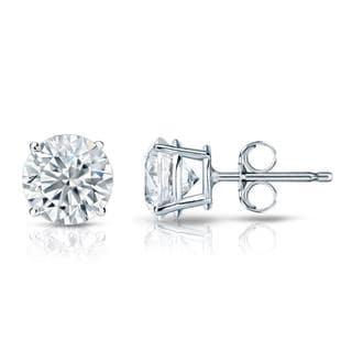 Auriya GIA Certified Platinum 4-Prong Basket 1.50 ct. TDW (E-F, VVS1-VVS2) Push Back Round Diamond Stud Earrings