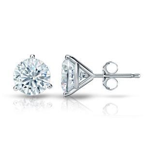Auriya Platinum Certified 3.00 ct. TDW 3-Prong Martini Round Diamond Stud Earrings