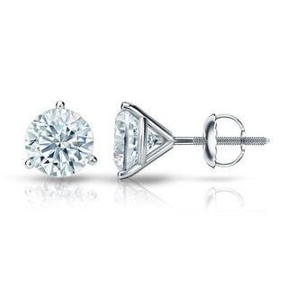 Auriya EGL USA Certified Platinum 3-Prong Martini 2.00 ct. TDW (K-L, I1-I2) Screw Back Round Diamond Stud Earrings