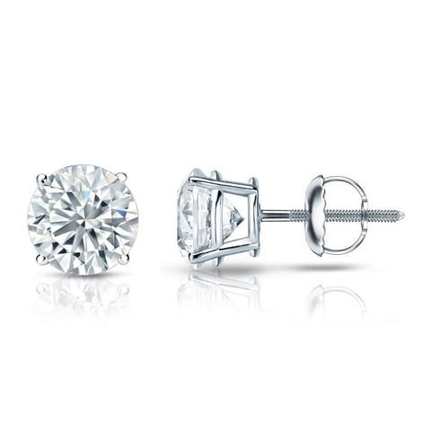 Auriya Platinum Round Diamond Stud Earrings 1 3/4ctw Certified