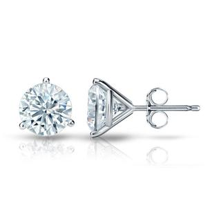 Auriya GIA Certified Platinum 3-Prong Martini 3.00 ct. TDW (I-J, VVS1-VVS2) Push Back Round Diamond Stud Earrings