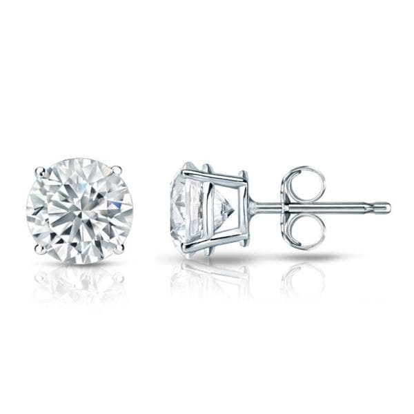 Platinum Round 3ct Tdw Certified Diamond Stud Earrings By Auriya