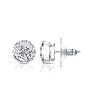 Auriya GIA Certified 14k White Gold Bezel Setting 3.00 ct. TDW (K-L, VS1-VS2) Secure Lock Back Round Diamond Stud Earrings