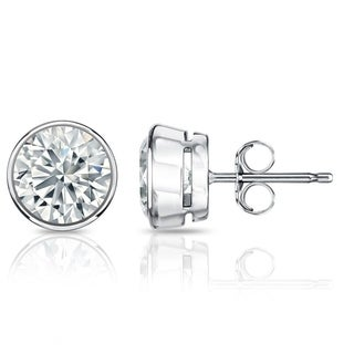 Auriya GIA Certified 18k White Gold Bezel Setting 1.50 ct. TDW (G-H, VVS1-VVS2) Push Back Round Diamond Stud Earrings