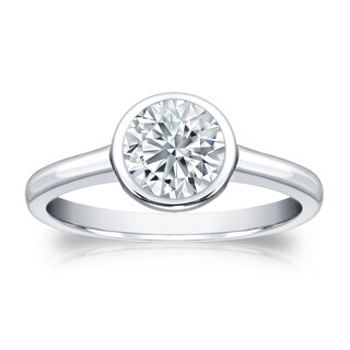 Auriya GIA Certified 18k White Gold Bezel Setting 1 ct. TDW (K-L, SI1-SI2) Round-Cut Diamond Solitaire Engagement Ring