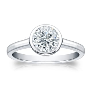 Auriya GIA Certified 18k White Gold Bezel Setting 3 ct. TDW (K-L, SI1-SI2) Round-Cut Diamond Solitaire Engagement Ring