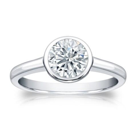 Auriya Platinum GIA Certified 3.00 carat TW Solitaire Bezel Set Diamond Engagement Ring