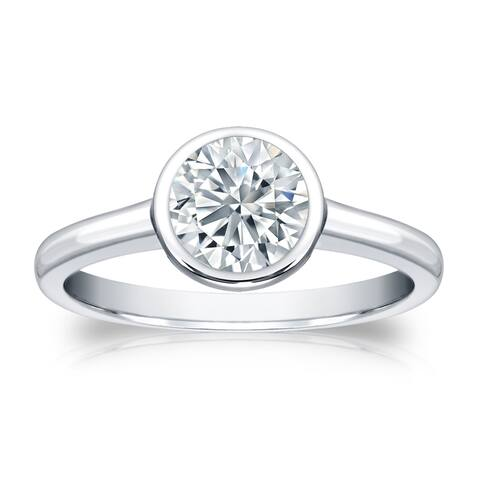 Auriya 3 carat TW Round Solitaire Diamond Engagement Ring Bezel-set Platinum GIA Certified