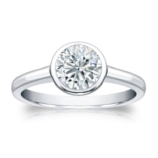 Auriya Platinum GIA Certified 3.00 carat TW Bezel Set Round Diamond Solitaire Engagement Ring (More options available)
