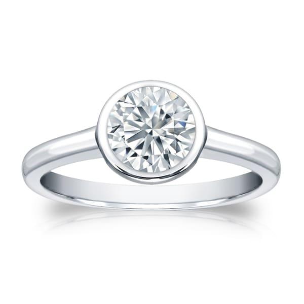 60e69016b82b7 Shop Auriya Platinum GIA Certified 2.00 carat TW Bezel Set Round ...