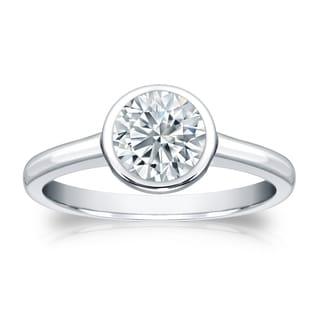 Auriya GIA Certified Platinum Bezel Setting 3 ct. TDW Round-Cut Diamond Solitaire E