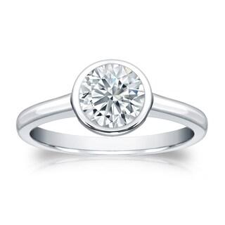 Auriya GIA Certified Platinum Bezel Setting 3 ct. TDW Round-Cut Diamond Solitaire Eng