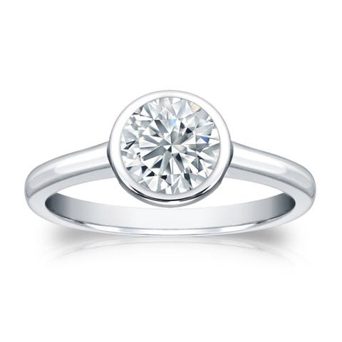 Auriya Platinum 3ctw Bezel Set Solitaire Diamond Engagement Ring GIA Certified