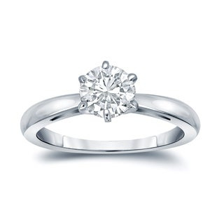 Auriya EGL USA Certified 14k White Gold 6-Prong 1 ct. TDW (K-L, I1-I2) Round-Cut Diamond Solitaire Engagement Ring