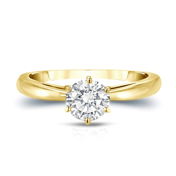 14k Solid Yellow Gold Round Cut Solitaire 1.50 Ct Diamond Engagement Ring