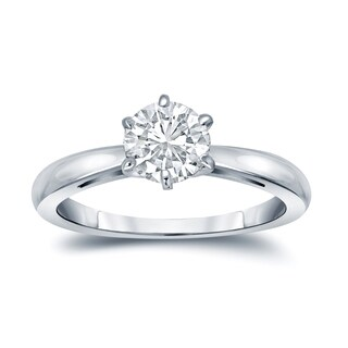 Auriya 18k Gold GIA Certified 3.00ct TDW 6-Prong Round Solitaire Diamond Engagement Ring (More options available)