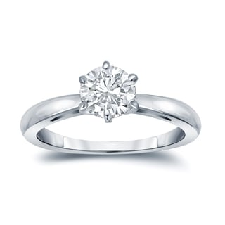 Auriya EGL USA Certified 18k White Gold 6-Prong 1 ct. TDW (K-L, I1-I2) Round-Cut Diamond Solitaire Engagement Ring