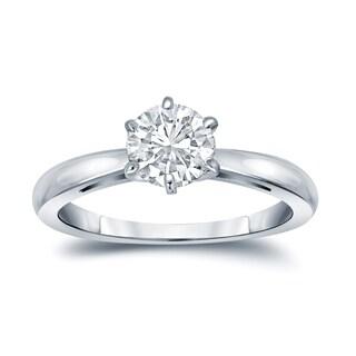 Auriya GIA Certified 18k White Gold 6-Prong 2.25 ct. TDW (K-L, VVS1-VVS2) Round-Cut Diamond Solitaire Engagement Ring