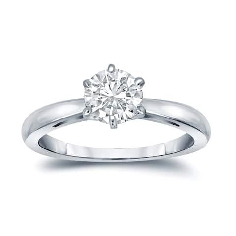 Auriya Platinum 3 carat TW Round Solitaire Diamond Engagement Ring 6-Prong GIA Certified