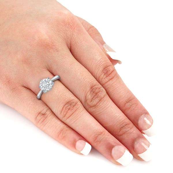 Shop Auriya Platinum 3 Carat Tw Round Solitaire Diamond Engagement Ring 6 Prong Gia Certified On Sale Overstock 13944512
