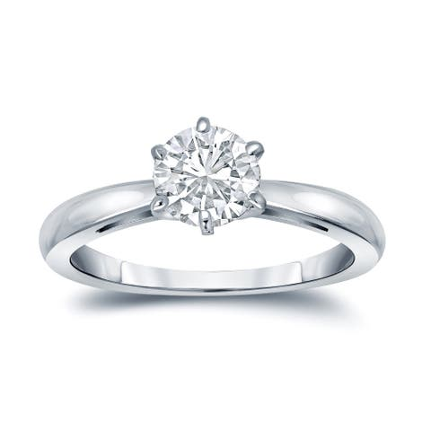 Auriya Platinum 3 carat TW Round Solitaire Diamond Engagement Ring 6-Prong GIA Certified