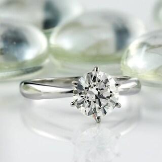 Auriya EGL USA Certified Platinum 6-Prong 1.50 ct. TDW Round-Cut Diamond Solitaire En - White G